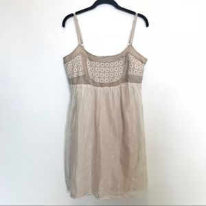 Anthropologie | Cream Dress with Gold Thread